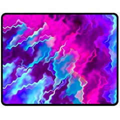 Stormy Pink Purple Teal Artwork Fleece Blanket (Medium)