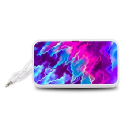 Stormy Pink Purple Teal Artwork Portable Speaker (White)