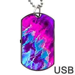Stormy Pink Purple Teal Artwork Dog Tag Usb Flash (one Side)