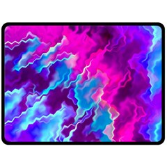 Stormy Pink Purple Teal Artwork Double Sided Fleece Blanket (Large)