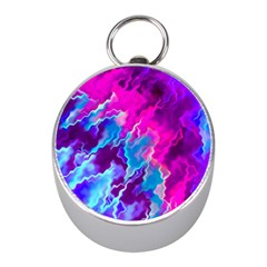 Stormy Pink Purple Teal Artwork Mini Silver Compasses