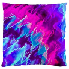 Stormy Pink Purple Teal Artwork Large Flano Cushion Cases (Two Sides)