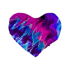 Stormy Pink Purple Teal Artwork Standard 16  Premium Flano Heart Shape Cushions