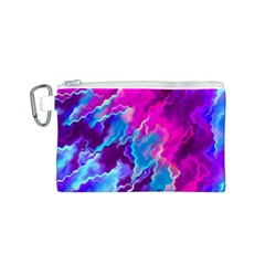 Stormy Pink Purple Teal Artwork Canvas Cosmetic Bag (S)