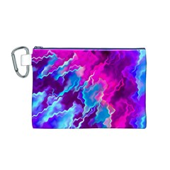 Stormy Pink Purple Teal Artwork Canvas Cosmetic Bag (M)