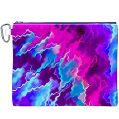 Stormy Pink Purple Teal Artwork Canvas Cosmetic Bag (XXXL)