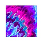 Stormy Pink Purple Teal Artwork Small Satin Scarf (Square)  Front