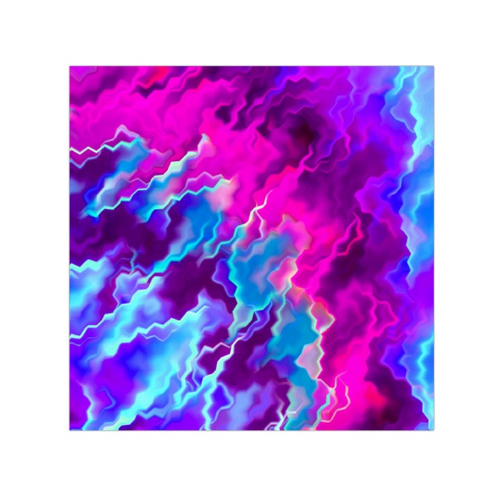 Stormy Pink Purple Teal Artwork Small Satin Scarf (Square)