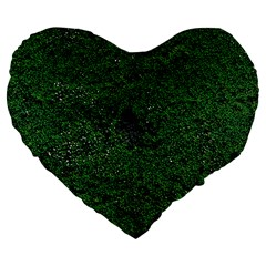 Green Moss Large 19  Premium Flano Heart Shape Cushions
