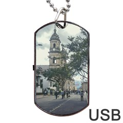 Cathedral At Historic Center Of Bogota Colombia Edited Dog Tag Usb Flash (one Side)