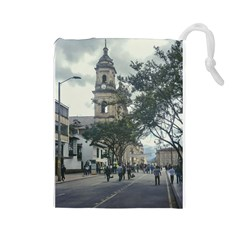 Cathedral At Historic Center Of Bogota Colombia Edited Drawstring Pouches (Large)
