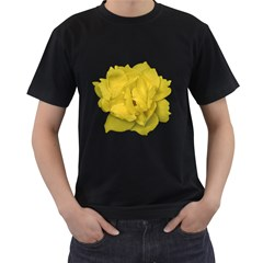 Isolated Yellow Rose Photo Men s T-Shirt (Black) (Two Sided)