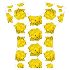 Yellow Rose Patterned Print Women s Cap Sleeve Top