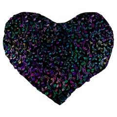 Improvisational Music Notes Large 19  Premium Flano Heart Shape Cushions