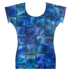 Blue Squares Tiles Women s Cap Sleeve Top