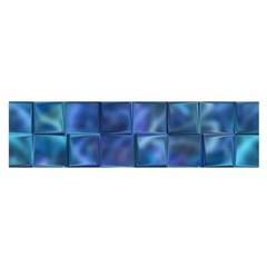 Blue Squares Tiles Satin Scarf (Oblong)