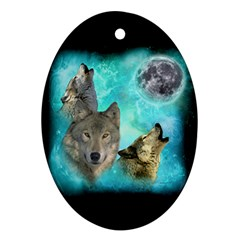 Wolves Shiney Grim Moon 3000 Ornament (oval)