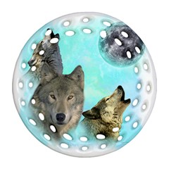 Wolves Shiney Grim Moon 3000 Round Filigree Ornament (2Side)