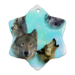 Wolves Shiney Grim Moon 3000 Snowflake Ornament (2-Side)