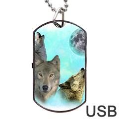 Wolves Shiney Grim Moon 3000 Dog Tag USB Flash (One Side)