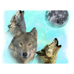 Wolves Shiney Grim Moon 3000 Birthday Cake 3d Greeting Card (7x5)