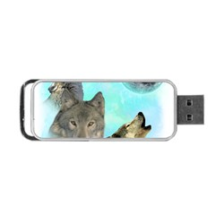Wolves Shiney Grim Moon 3000 Portable USB Flash (One Side)