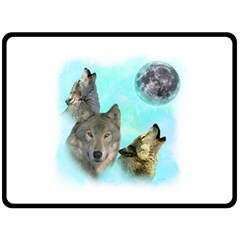 Wolves Shiney Grim Moon 3000 Double Sided Fleece Blanket (Large)