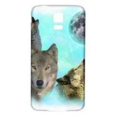 Wolves Shiney Grim Moon 3000 Samsung Galaxy S5 Back Case (White)