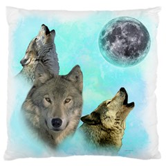 Wolves Shiney Grim Moon 3000 Large Flano Cushion Cases (one Side)