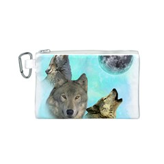 Wolves Shiney Grim Moon 3000 Canvas Cosmetic Bag (S)