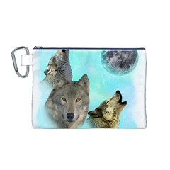 Wolves Shiney Grim Moon 3000 Canvas Cosmetic Bag (m)