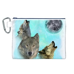 Wolves Shiney Grim Moon 3000 Canvas Cosmetic Bag (L)
