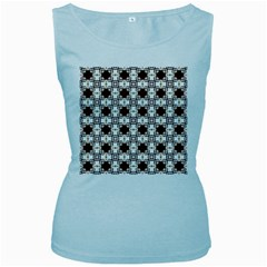 Cute Pretty Elegant Pattern Women s Baby Blue Tank Tops
