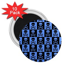 Blue Skull Checkerboard 2 25  Magnets (10 Pack)