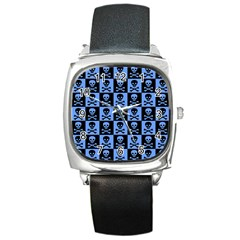 Blue Skull Checkerboard Square Metal Watches