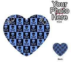 Blue Skull Checkerboard Playing Cards 54 (Heart)