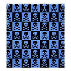 Blue Skull Checkerboard Shower Curtain 66  x 72  (Large)