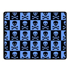 Blue Skull Checkerboard Fleece Blanket (Small)