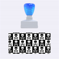 Blue Skull Checkerboard Rubber Stamps (Medium)