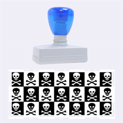 Blue Skull Checkerboard Rubber Stamps (Large)
