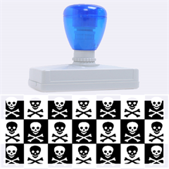 Blue Skull Checkerboard Rubber Address Stamps (XL)