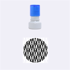 Blue Skull Checkerboard Rubber Round Stamps (small)