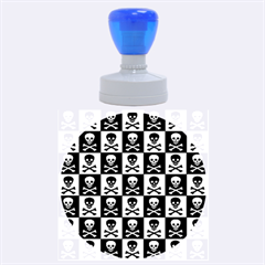 Blue Skull Checkerboard Rubber Round Stamps (large)