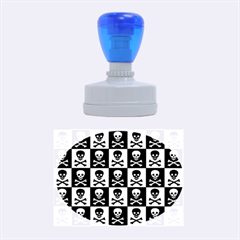 Blue Skull Checkerboard Rubber Oval Stamps