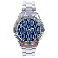Blue Skull Checkerboard Stainless Steel Men s Watch