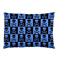 Blue Skull Checkerboard Pillow Cases (Two Sides)