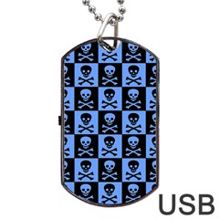 Blue Skull Checkerboard Dog Tag USB Flash (One Side)