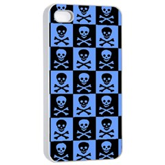Blue Skull Checkerboard Apple iPhone 4/4s Seamless Case (White)