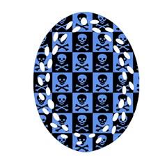Blue Skull Checkerboard Oval Filigree Ornament (2 Side)