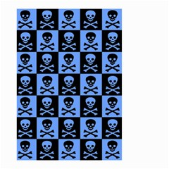 Blue Skull Checkerboard Small Garden Flag (Two Sides)